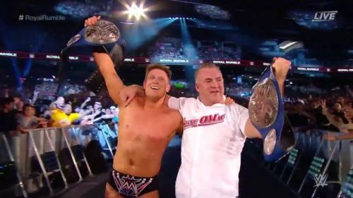 The Miz and Shane McMahon celebrate their victory at Royal Rumble