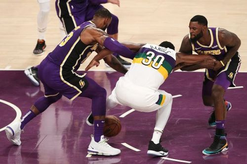 LeBron and Lance battle with former Laker Julius Randle during a narrow win over the Pelicans