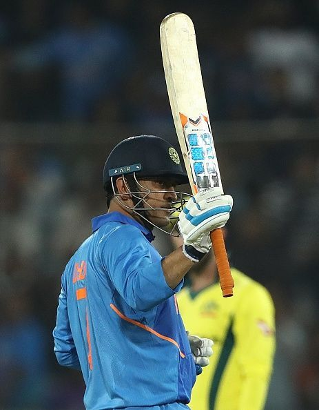 Dhoni guiding his team home to victory in the first ODI against Australia