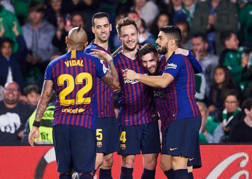 FC Barcelona players celebrating