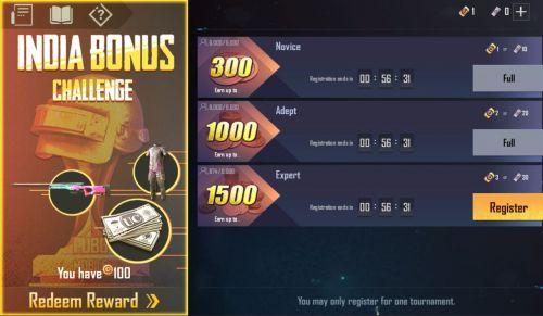 PUBG Mobile India bonus challenge