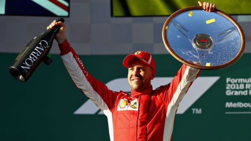 Sebastian Vettel celebrates winning the 2018 Australian GP