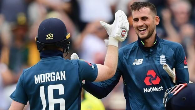 Alex Hales and Eoin Morgan during the World record breaking 481 against Australia