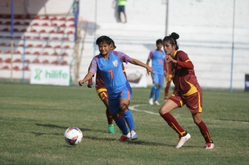 Indian women's football team in action against Sri Lanka in the SAFF Cup in Nepal