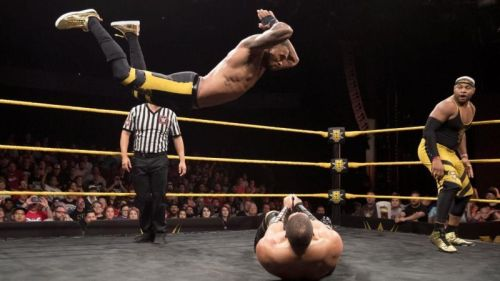The athletic Montez Ford nails a high-impact frog splash