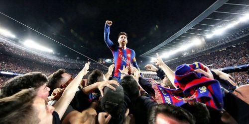 Lionel Messi celebrates Barcelona's historic win against PSG