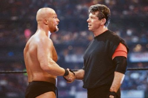 Steve Austin and Mr. McMahon formed an unholy alliance to celebrate at the end of WrestleMania 17.