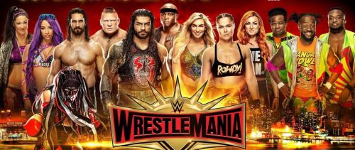 WrestleMania 35 poster featuring many WWE Superstars. Lars Sullivan could win Andre The Giant Memorial Battle Royal.