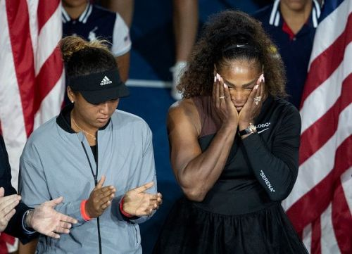 Naomi Osaka and Serena Williams after the 2018 US Open Final