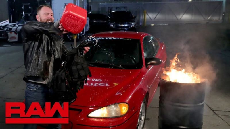 Dean Ambrose sets his Shield vest on fire - indicating he would never be with them again