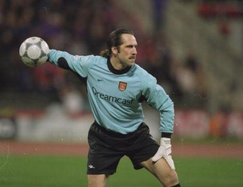 David Seaman of Arsenal in action