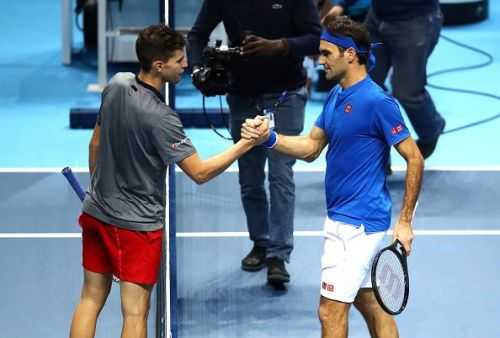 Dominic Thiem (left) and Roger Federer
