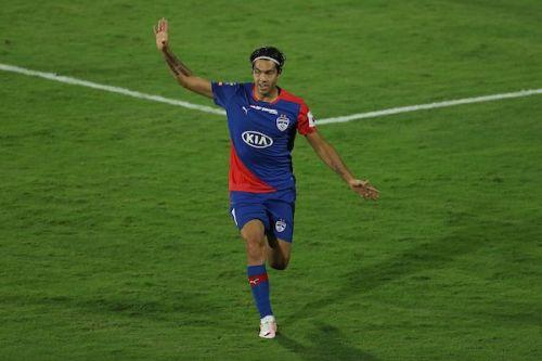 Miku of Bengaluru FC is overjoyed after scoring against NorthEast United at the Sree Kanteerava Stadium in the ISL Semifinal