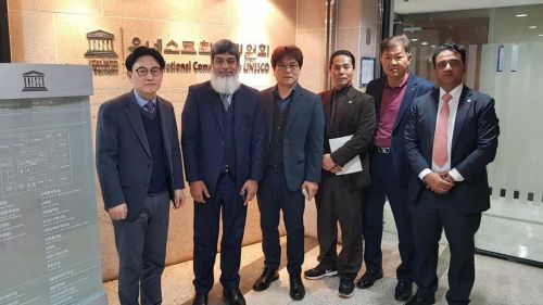 Chairman Mr. Khalil Ahmed Khan and Rapporteur Mr. Shammi Rana with Assistant Secretary-General Korean National Commission for UNESCO Mr. Kim Kwi-bae