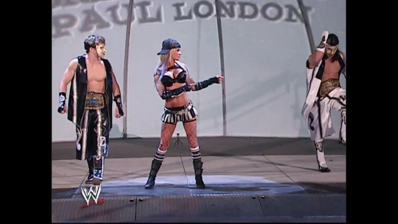 Ashley with London (right), whom she got close to, despite being with Matt Hardy