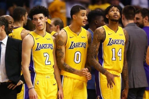 Lonzo Ball (left), Kyle Kuzma (center) and Brandon Ingram (right) of the LA Lakers