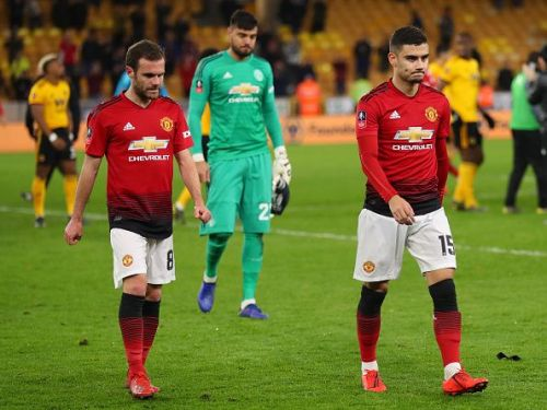 Manchester United players looking disappointed after losing to Wolverhampton Wanderers