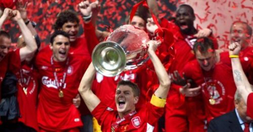 The last time Liverpool won the Champions League, captained by Steven Gerrard.