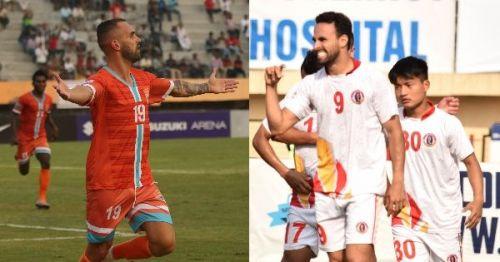 Chennai City's Pedro Manzi and East Bengal's Enrique Esqueda