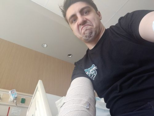 Shroud after his first surgery