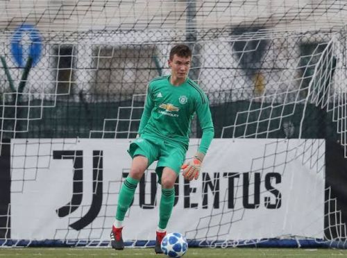 Matej Kovar in action during the UEFA Youth League match between Juventus U19s and Manchester United U19s on November 7, 2018, in Turin, Italy.