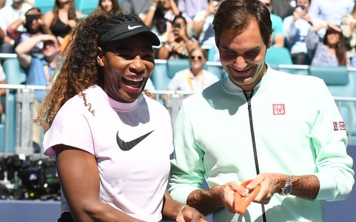 Federer during the launch of the newly built stadium in Miami along with Serena Williams