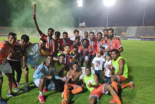 Chennai City FC players after winning their maiden I-League title