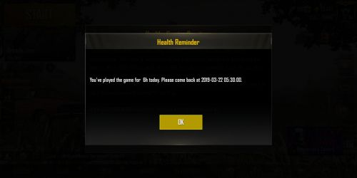 The message players will receive after playing for six hours.