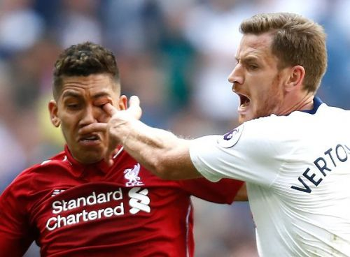 Jan Vertonghen infamously poked Roberto Firmino's eye in the reverse fixture this season