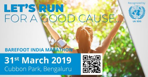 Barefoot India Marathon | March 31 2019. There are so many numbers of NGO supporting various causes around the world and in our country. But there was something never looked at or never bothered so much. After taking a proper survey across India Dr. Joyappa Achaiah came to know that still millions of people across our country can't afford footwear. Any human being tends to walk a lot every single day of his life. There is nothing worse if a person isn't having the liberty to walk where he wants. India is a country with mixed climates and terrain types some areas with hot sand, some with thorns and bushes and some with gravels and stones etc… people walking barefoot in our country has to face a lot of painful situations like infections, accidentally walking in broken glass, nails or such sharp objects and diseases. After an extensive case study on this topic, Dr. Joyappa Achaiah initiated Barefoot India Campaign in early 2015, leaving his well-paying job in one of the top real estate company in India.