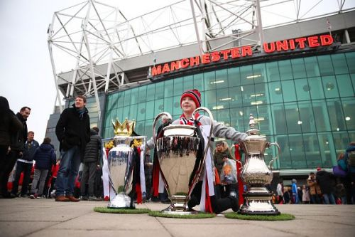 Three out of the many trophies won by Manchester United