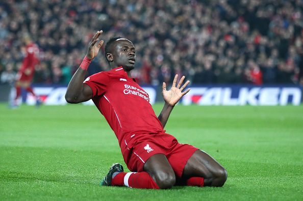 Sadio Mane celebrating a goal against Watford.