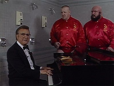 Steve Allen with the Bolshevik before their WrestleMania match against the Hart Foundation