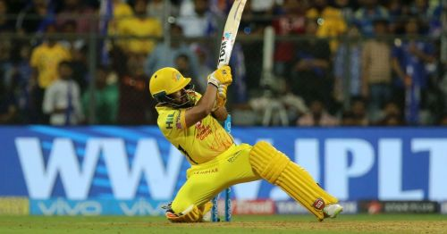 Jadhav showed tremendous character as he walked out with a hamstring strain match playing this shot after which he smashed a boundary to help CSK beat Mumbai