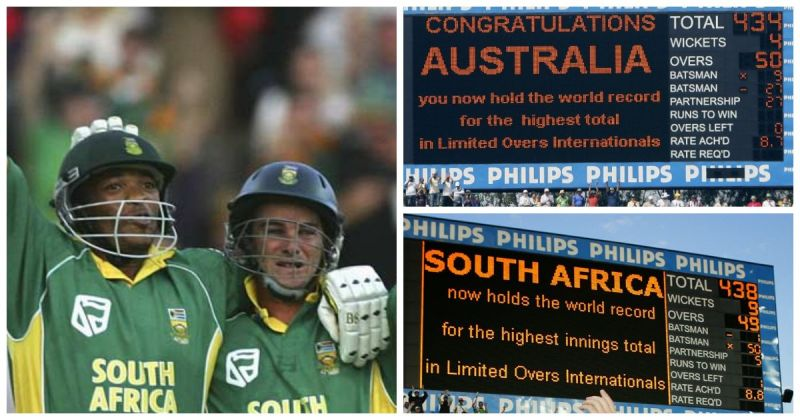 South Africa vs Australia ODI match at Johannesburg in 2006 still holds the world record of highest match aggregate