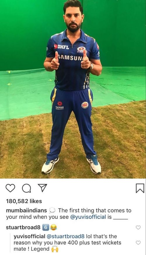 Yuvraj's epic reply to Broad