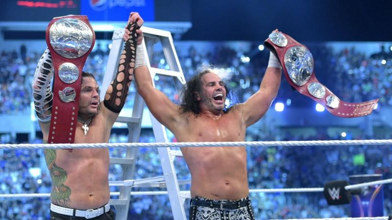 The Hardy Boyz after winning Raw Tag Team Titles at WrestleMania 35