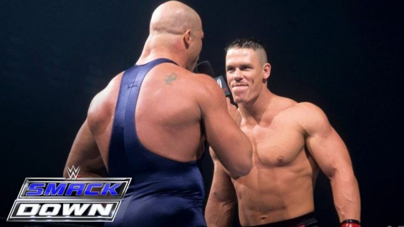 John Cena faced Kurt Angle in his first match in WWE.