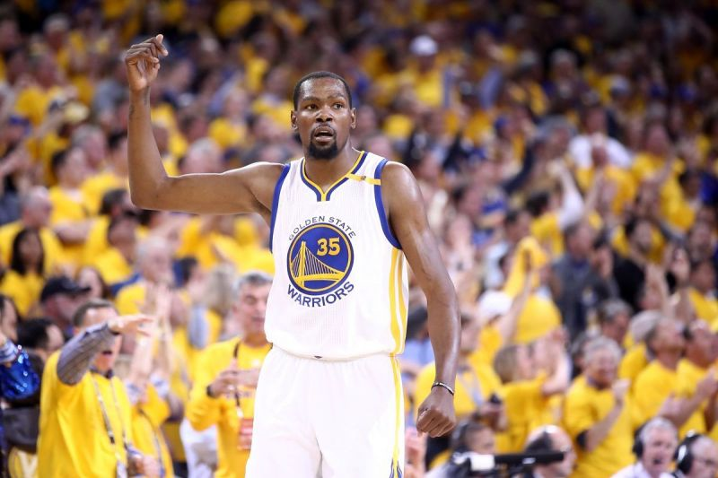 Durant after winning a match for the Warriors.