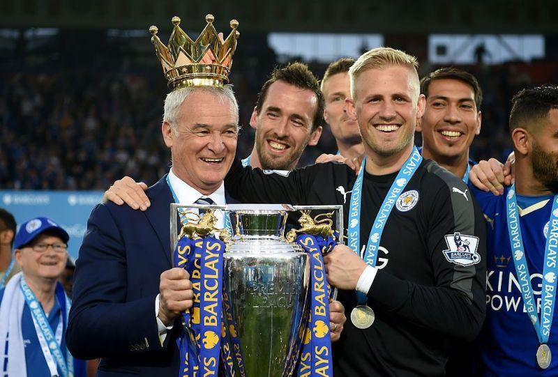Ex-Leicester City manager Claudio Ranieri with goalkeeper Kasper Schmeichel
