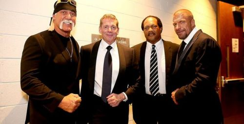 File photo of Hulk Hogan with Vince McMahon, Ron Simmons, and HHH