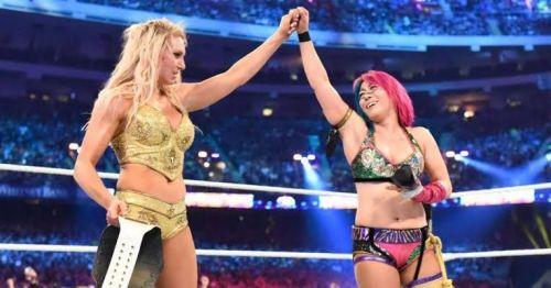 Charlotte and Asuka at WrestleMania 34