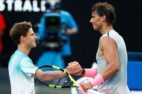 Nadal and Schwartzman at 2018 Australian Open - Day 7