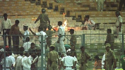Disappointed with India's performance, an angry Eden crowd set the stadium on fire
