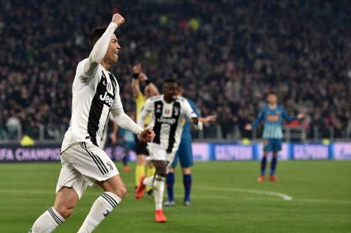 Ronaldo celebrating against Atletico Madrid