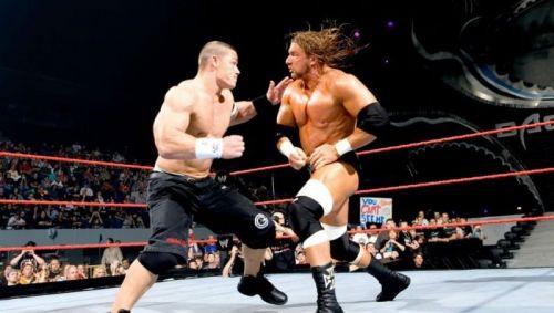 John Cena battling Triple H at WrestleMania 22