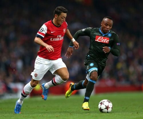 Mesut Ozil and Zuniga in battle when these sides met last time
