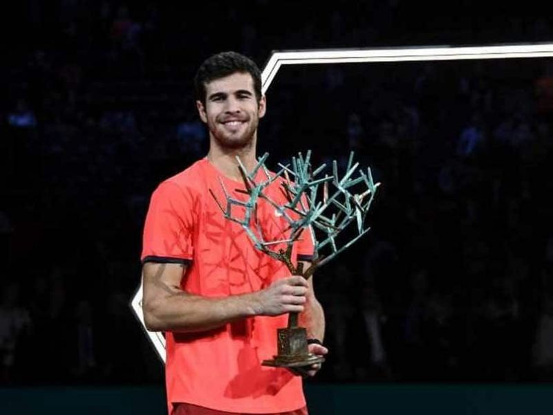 Karen Khachanov winning the Paris Masters in 2018 after beating Novak Djokovic 7-5, 6-4
