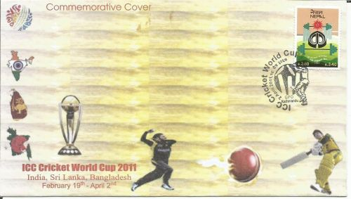 A SPECIAL COMMEMORATIVE COVER OF NEPAL ON 2011 CRICKET WORLD CUP