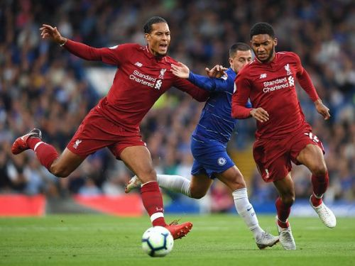 Virgil van Dijk, Eden Hazard, and Joe Gomez